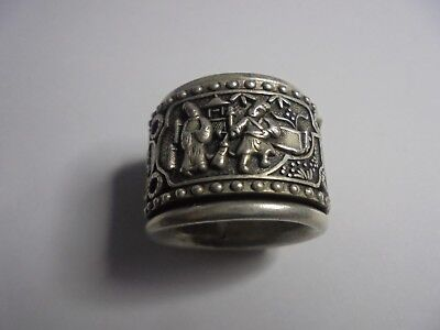 Chinese Silver (White Metal) Hand Made Rotating Ring. Antique Jewellery.
