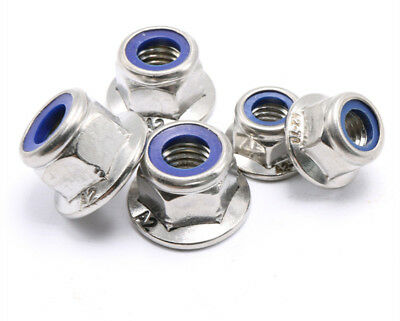 304 Stainless Steel Flange Nylon Insert Locknut Hex nuts M4 M5 M6 M8 M10 M12 A2