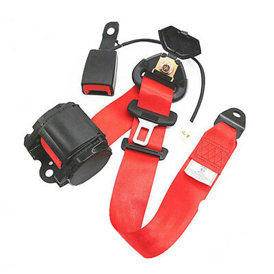 3 Point Retractable Car Safety Seat Belts Lap Safety Belt Curved Rigid Buckle