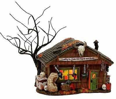 Lefty's Chain Saw Repair and Studio Dept 56 Snow Village Halloween 4056703 New