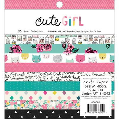"""Crate Paper Cute Girl Single-Sided Paper Pad 6""""X6"""" 36/Pkg, Scrapbooking, Cards"""