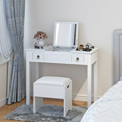 Vanity Set W Flip Top Mirror Makeup Dressing Table Writing Desk 2 Drawers Stool