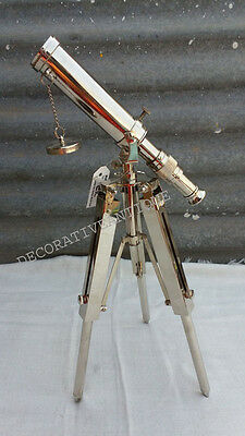Vintage Nautical Nickle Finish Telescope On Tripod Reproduction