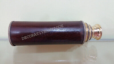 Shiny Brass Wooden Folding Telescope Antique Collectibles Decorative