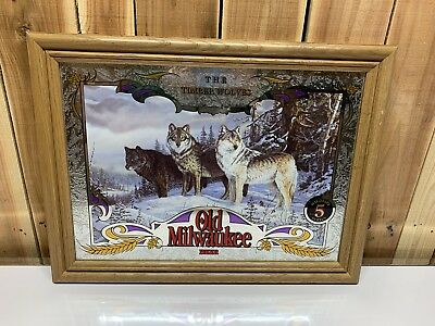 Old Milwaukee Beer Mirror Wildlife Series Mint Rare Find The Timber Wolve New