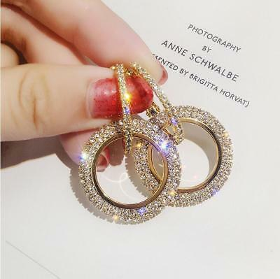 Shiny womens Gold Filled clear Full Diamond crystal circle Stud earring jewelry