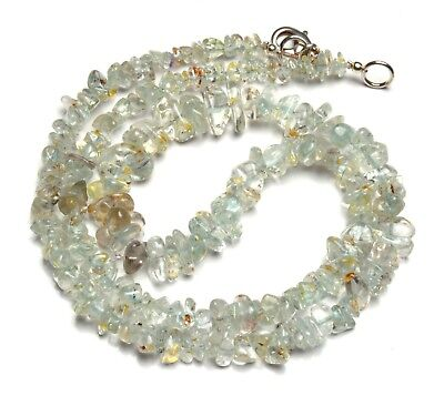 Natural Gem Colorless Beryl 4 to 9MM Size Rough Uncut Chips Beads Necklace 18""