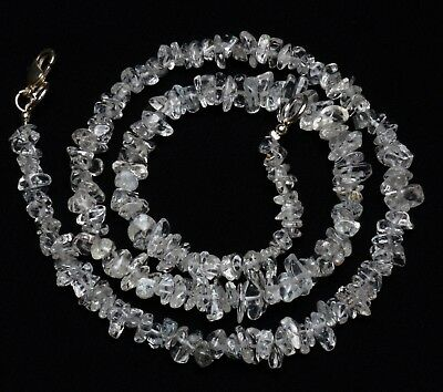 Natural Gem Colorless Beryl 4 to 7MM Size Rough Uncut Chips Beads Necklace 17""