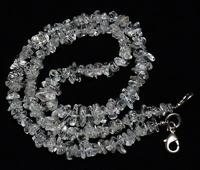 Natural Gem Colorless Beryl 4 to 8MM Size Rough Uncut Chips Beads Necklace 18""