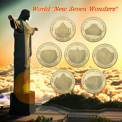 WR Seven Wonders Gold Plated Coin 7pcs World Wonders Golden Challenge Coin with