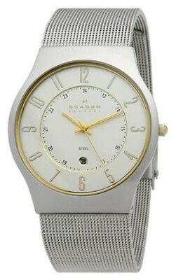 SKAGEN 233XLSGS Mens/Gents ULTRA SLIM MESH 2-TONE Watch w/Date  NEW