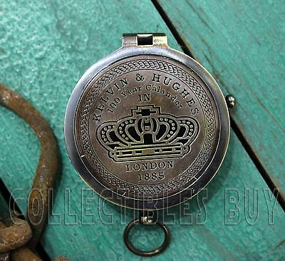 Brass antique Kelvin hughes compass with 100 year calendar vintage collectible