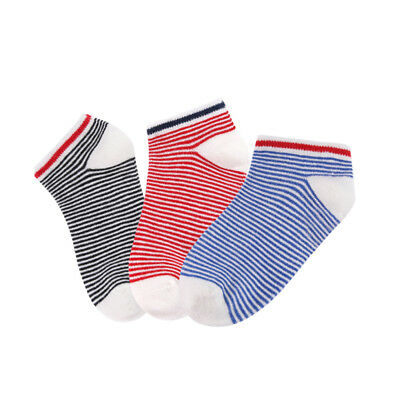 3 Pairs Lot Kids Classic Striped Crew Ankle Socks Boy Girl Casual Soft Cotton