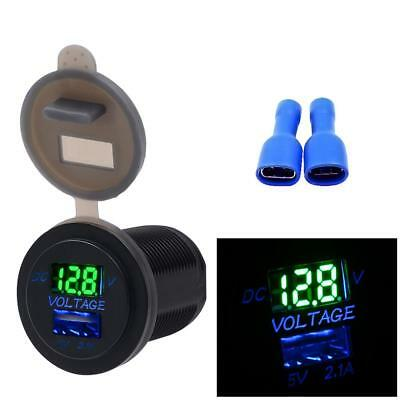 2-in-1 Car Vehicle USB Home Motorbike Boat Mobile Phone Chargers Voltmeter Gauge