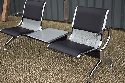 Airport style two 2 seater steel waiting room seat / bench chair with table
