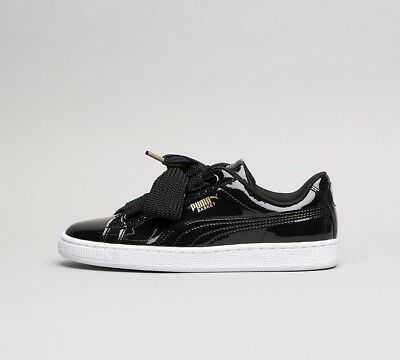 new products c0bc5 45d6e WOMENS PUMA BASKET Heart Black Patent Trainers (SF32) RRP £64.99