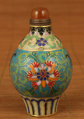 Antique chinese old Enamels Cloisonne Hand Painting flower Statue Snuff Bottle