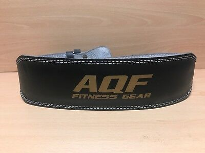 AQF Leather Weight Lifting Belt Gym Strength Training Fitness Back Support XL