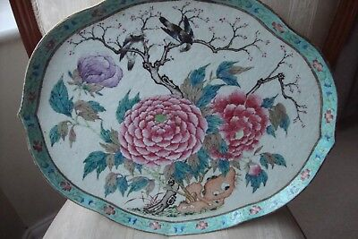 Chinese Large Famille Rose Tray Dish 19th Century Circa 1860