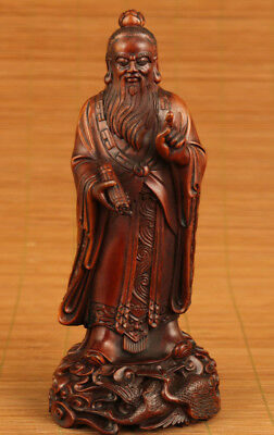chinese old boxwood hand carved confucianist statue kongzi statue figure
