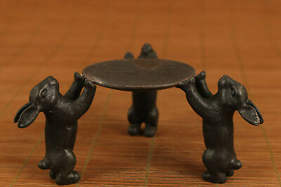 fine chinese old bronze hand carved rabbit statue oil lamp candle stick