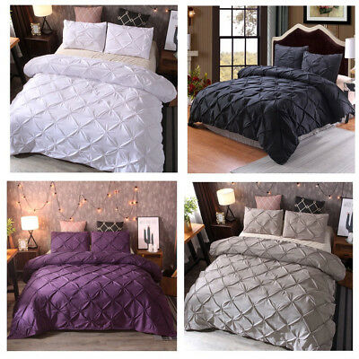 UK Size Quilt Duvet Cover Bedding Set Single Double King With Pillowcases All