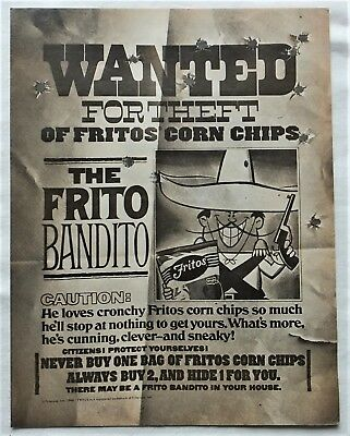 Scarce 1968 THE FRITO BANDITO WANTED FOR THEFT POSTER Full Page Magazine Ad