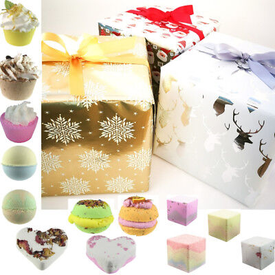 Bath Bombs Christmas Gift Set Luxury Wrapped Natural Soap Boxed Shower Cubes 5