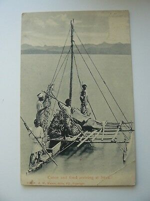 Canoe and food arriving at Suva Postcard - Fiji - postage stamp has been removed