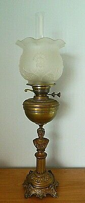 Beautiful Copper/ Brass and Glass OIL LAMP with Bust of Queen Alexandra c 1900