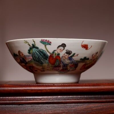 Unique Chinese Porcelain MinGuo Famille rose Characters Pastel Old Bowl C093