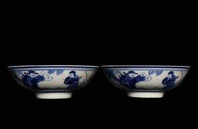 Fabulous Pair of Rare Old White And Blue Porcelains Vases Water Wine Bowls FA761
