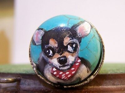 hand painted Chihuahua Turquoise stretch   ring,one size fits most