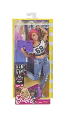 New Mattel Posable Curvy Barbie Doll -Dancer Made To Move