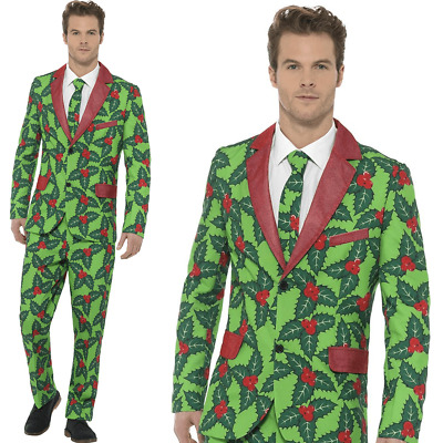 Mens Christmas Stand Out Suit Holly Berry Fun Xmas Fancy Dress Costume Patterned