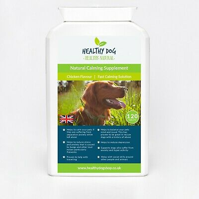Dog Calming 120 Tablets For Stress, Nervous Dogs, Anxiety - Chicken Flavour