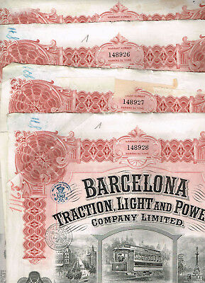 Set 4 Barcelona Traction...1922,  uncancelled/ coupons, VF- VF minus