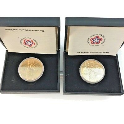 LOT OF 2 1776 - 1976 National Bicentennial Commemorative Medals w/Case & Papers