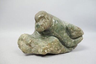 Beautiful Carved Inuit Hard Stone Jade Sculpture of Elephant Seal Alaska