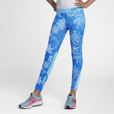 AQ6243-518 XS//M//L//XL Nike Pro Girls/' Persian Violet//Black Floral Printed Tights