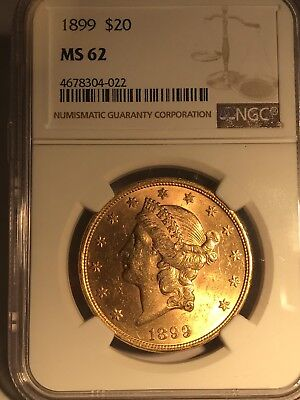 1899 $20 Liberty Gold Double Eagle NGC MS62!  4678304-022