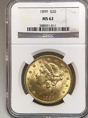 1899 $20 Liberty Gold Double Eagle NGC MS62!!  388591-012