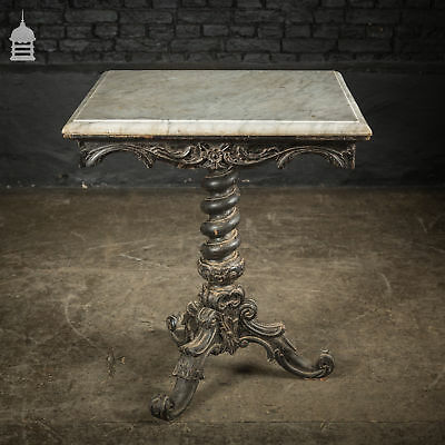 Exquisite 19th C Carved Hardwood Occasional Table with Twist Pedestal and Marble