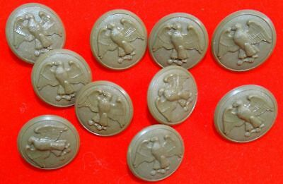 """10 WWII Army WAC 1-1/8"""" Overcoat Buttons"""