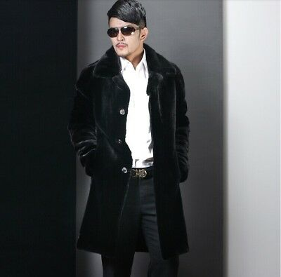 Mens Black Luxury Faux Rabbit Fur Jackets Winter Trench Coats Long Parka Outwear