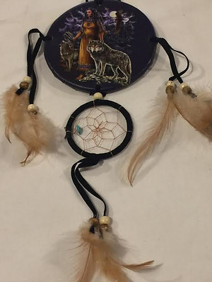 12'' Long Girl and Wolf Dream Catcher bedroom home decor cabin ! Nice !