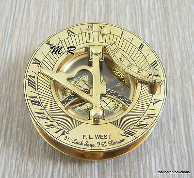 Vintage Maritime West London Antique Brass Sundial Compass Nautical Decor