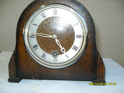 Smiths Enfield Oak Mantel clock with key and pendulum