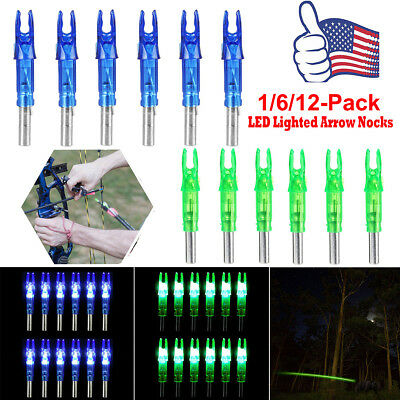6/12 PCS Automatically LED Lighted Arrow half moon Nocks Tail for bow Arrows UK