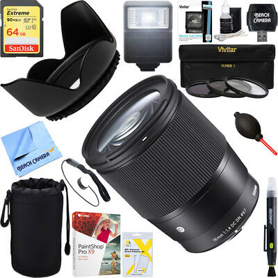 Sigma 16mm F1.4 DC DN Sony E Mount Lens + 64GB Ultimate Kit